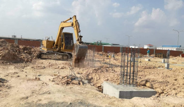 FOUNDATION WORK AT GARMENT FACTORY IN PHNOM PENH, CAMBODIA